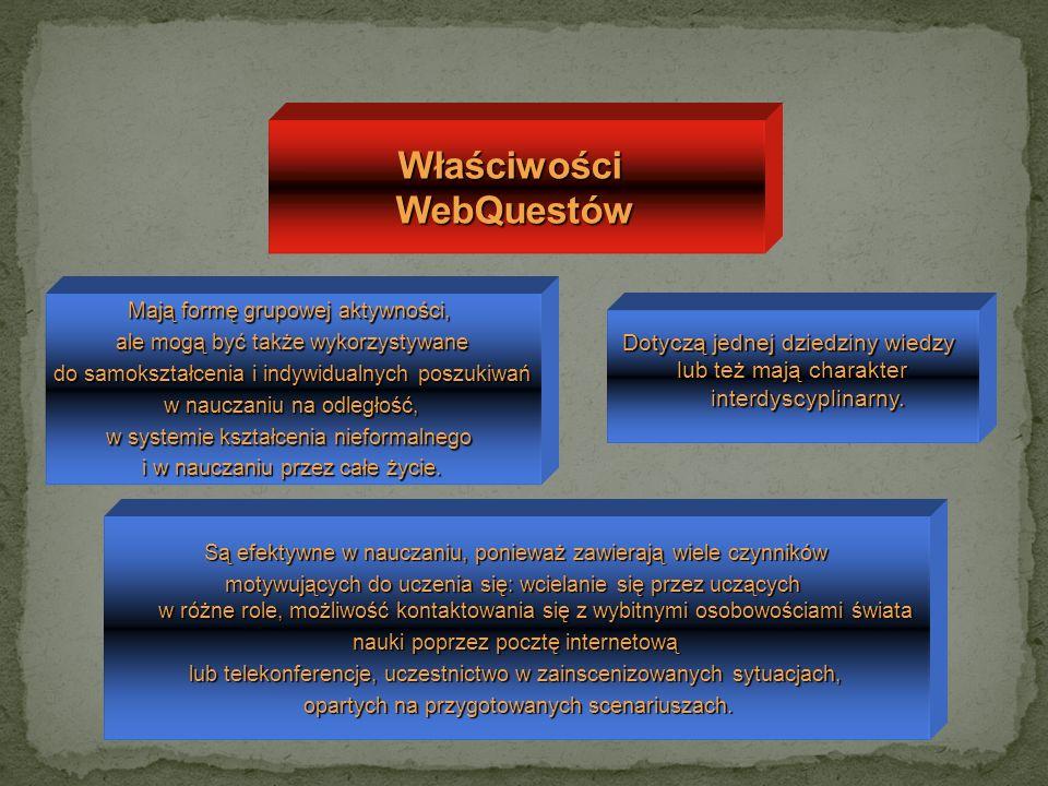 WłaściwościWebQuestów Mają formę grupowej aktywności, ale mogą być także wykorzystywane do samokształcenia i indywidualnych poszukiwań do samokształce