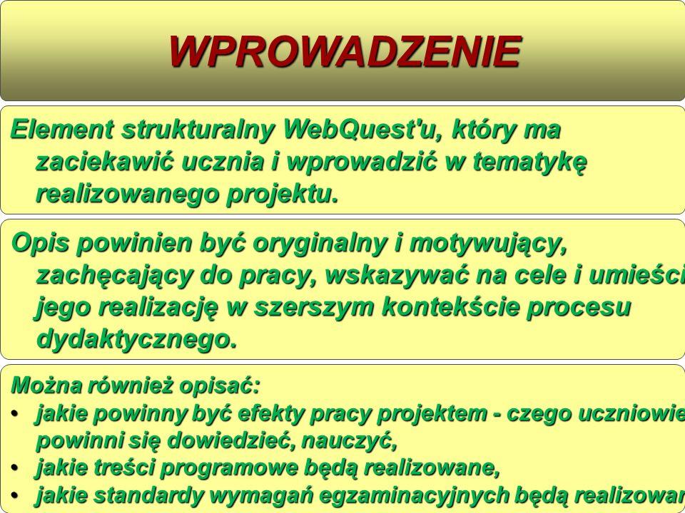 Element strukturalny WebQuest'u, który ma zaciekawić ucznia i wprowadzić w tematykę realizowanego projektu. WPROWADZENIE Opis powinien byćoryginalny i