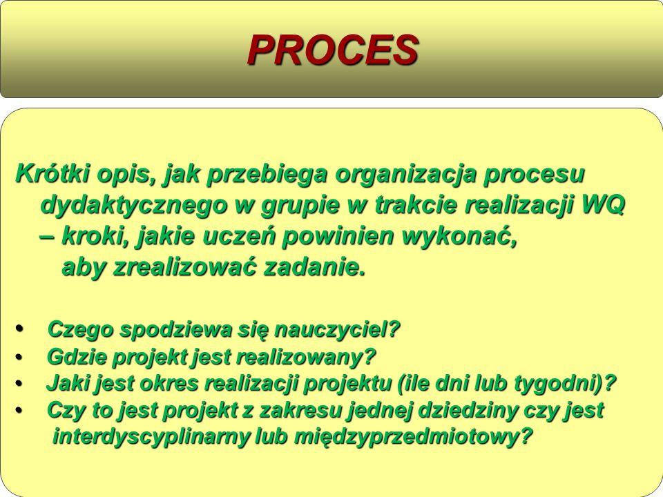 Krótki opis, jak przebiega organizacja procesu dydaktycznego w grupie w trakcie realizacji WQ – kroki, jakie uczeń powinien wykonać, aby zrealizować z