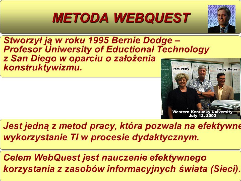 Jest jedną z metod pracy, która pozwala na efektywne wykorzystanie TI w procesie dydaktycznym. METODA WEBQUEST Stworzył ją w roku 1995 Bernie Dodge –