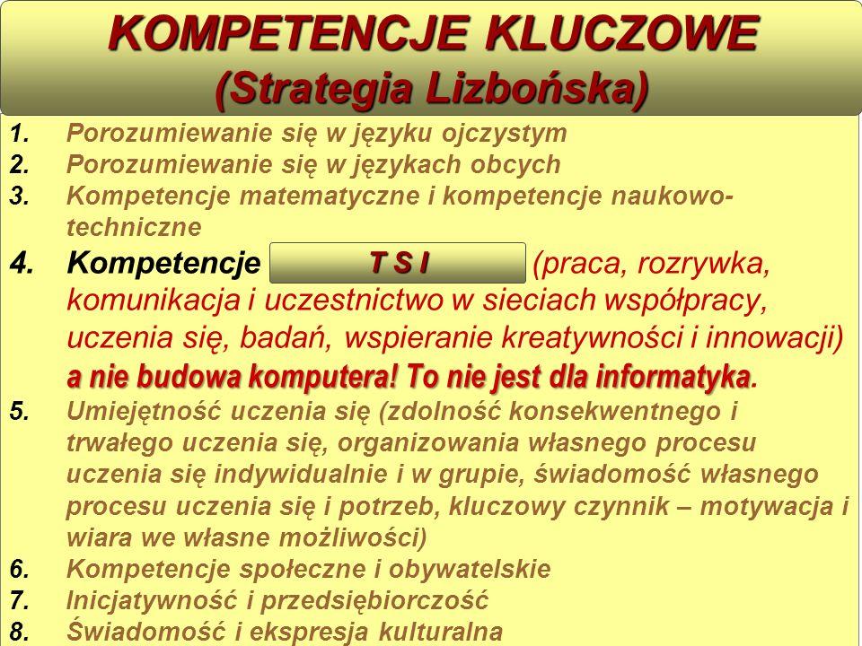 1.Porozumiewanie się w języku ojczystym 2.Porozumiewanie się w językach obcych 3.Kompetencje matematyczne i kompetencje naukowo- techniczne a nie budo