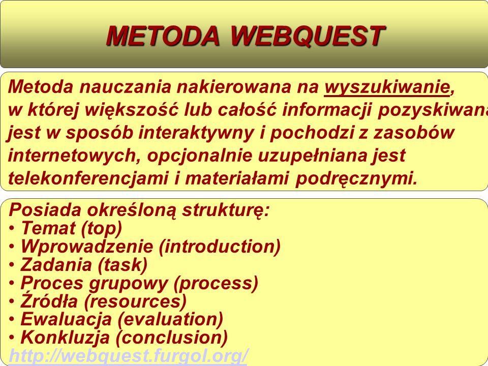 Metoda nauczania nakierowana na wyszukiwanie, w której większość lub całość informacji pozyskiwana jest w sposób interaktywny i pochodzi z zasobów int