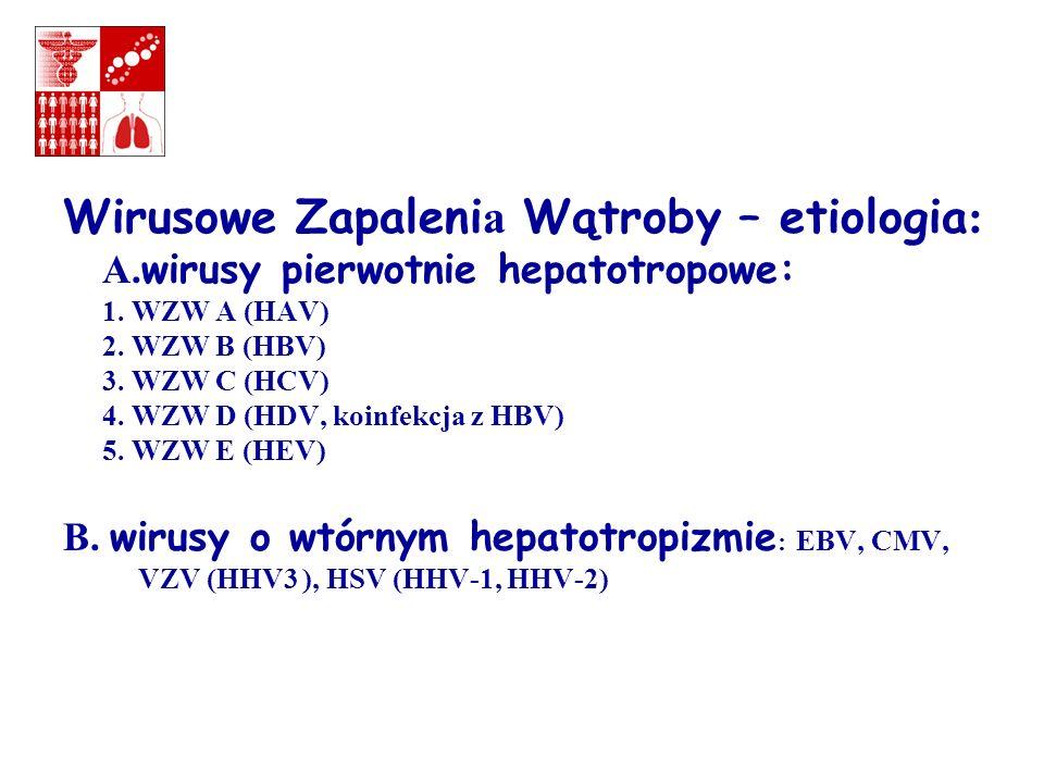 Wirusowe Zapaleni a Wątroby – etiologia : A. wirusy pierwotnie hepatotropowe: 1. WZW A (HAV) 2. WZW B (HBV) 3. WZW C (HCV) 4. WZW D (HDV, koinfekcja z