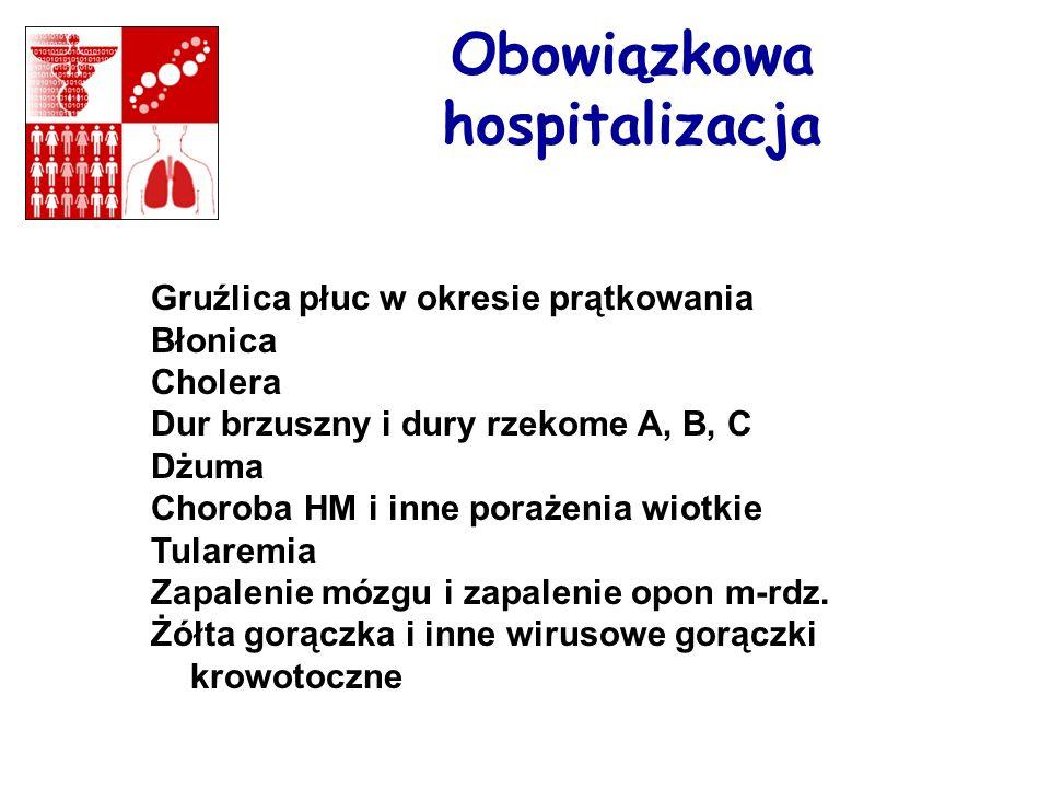Obowiązkowa hospitalizacja Gruźlica płuc w okresie prątkowania Błonica Cholera Dur brzuszny i dury rzekome A, B, C Dżuma Choroba HM i inne porażenia w
