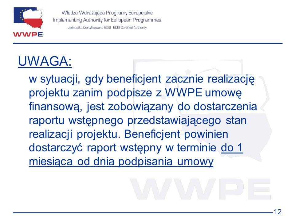 12 UWAGA: w sytuacji, gdy beneficjent zacznie realizację projektu zanim podpisze z WWPE umowę finansową, jest zobowiązany do dostarczenia raportu wstę