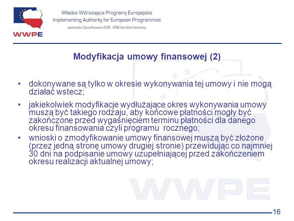 16 Modyfikacja umowy finansowej (2) dokonywane są tylko w okresie wykonywania tej umowy i nie mogą działać wstecz; jakiekolwiek modyfikacje wydłużając