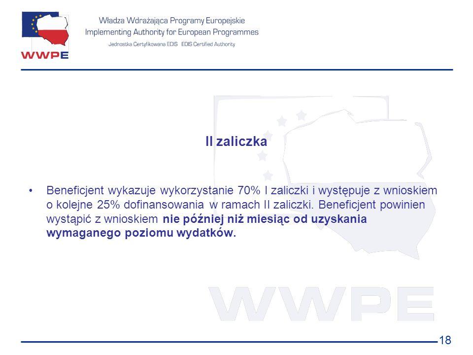 18 II zaliczka Beneficjent wykazuje wykorzystanie 70% I zaliczki i występuje z wnioskiem o kolejne 25% dofinansowania w ramach II zaliczki. Beneficjen