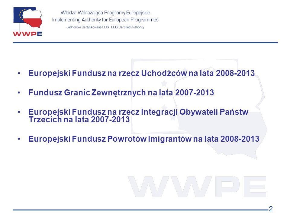 2 Europejski Fundusz na rzecz Uchodźców na lata 2008-2013 Fundusz Granic Zewnętrznych na lata 2007-2013 Europejski Fundusz na rzecz Integracji Obywate