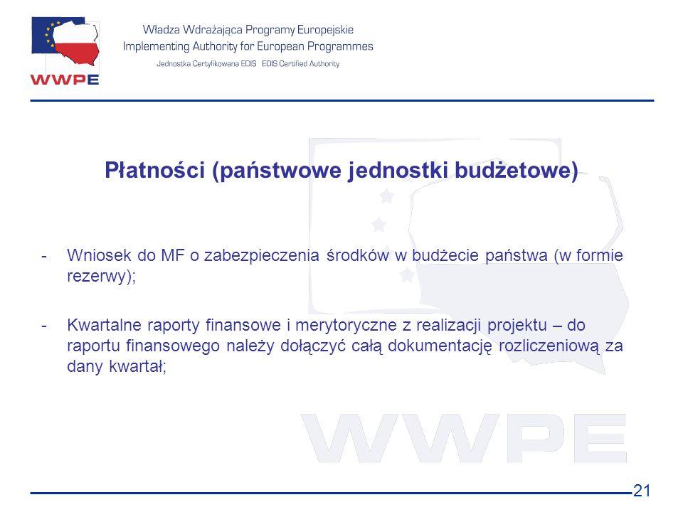 21 Płatności (państwowe jednostki budżetowe) -Wniosek do MF o zabezpieczenia środków w budżecie państwa (w formie rezerwy); -Kwartalne raporty finanso