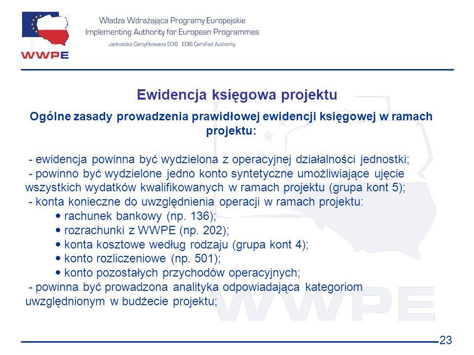 23 Ewidencja księgowa projektu Ogólne zasady prowadzenia prawidłowej ewidencji księgowej w ramach projektu: - ewidencja powinna być wydzielona z opera