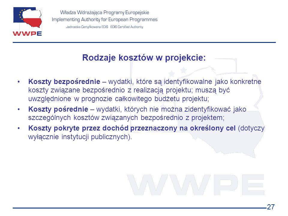 27 Rodzaje kosztów w projekcie: Koszty bezpośrednie – wydatki, które są identyfikowalne jako konkretne koszty związane bezpośrednio z realizacją proje