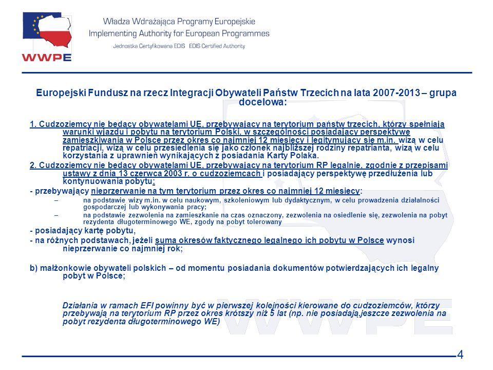 4 Europejski Fundusz na rzecz Integracji Obywateli Państw Trzecich na lata 2007-2013 – grupa docelowa: 1. Cudzoziemcy nie będący obywatelami UE, przeb
