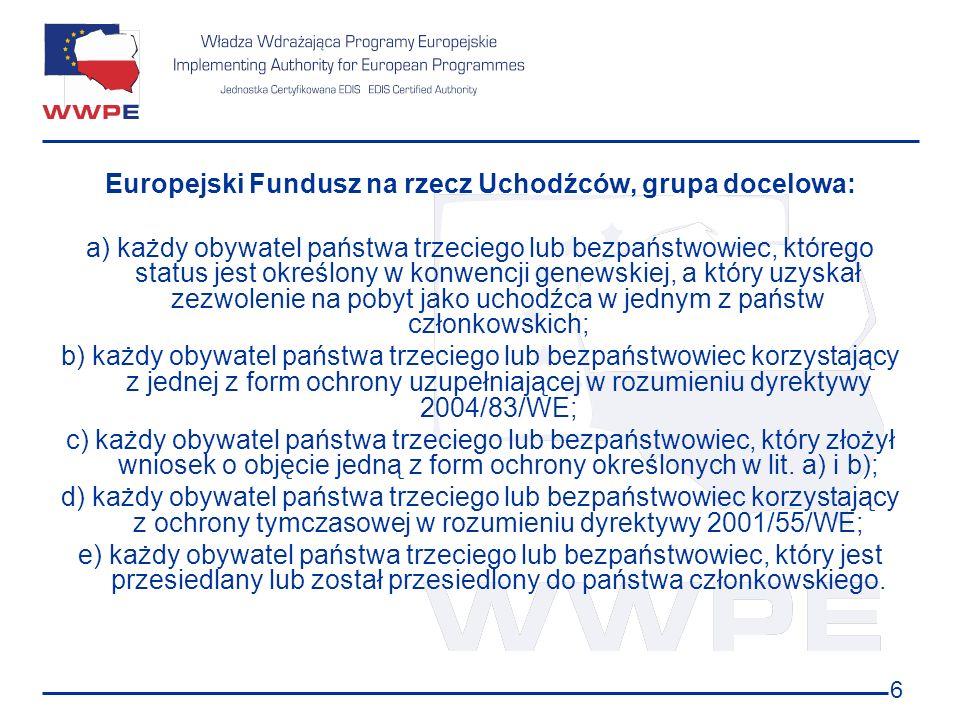 6 Europejski Fundusz na rzecz Uchodźców, grupa docelowa: a) każdy obywatel państwa trzeciego lub bezpaństwowiec, którego status jest określony w konwe