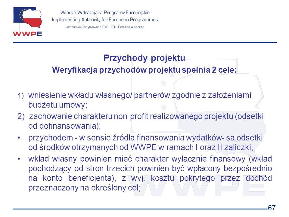 67 Przychody projektu Weryfikacja przychodów projektu spełnia 2 cele: 1) wniesienie wkładu własnego/ partnerów zgodnie z założeniami budżetu umowy; 2)