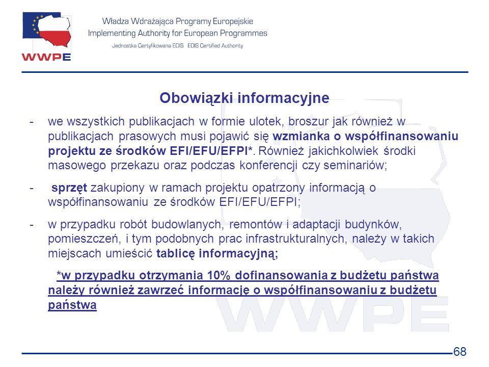 68 Obowiązki informacyjne -we wszystkich publikacjach w formie ulotek, broszur jak również w publikacjach prasowych musi pojawić się wzmianka o współf
