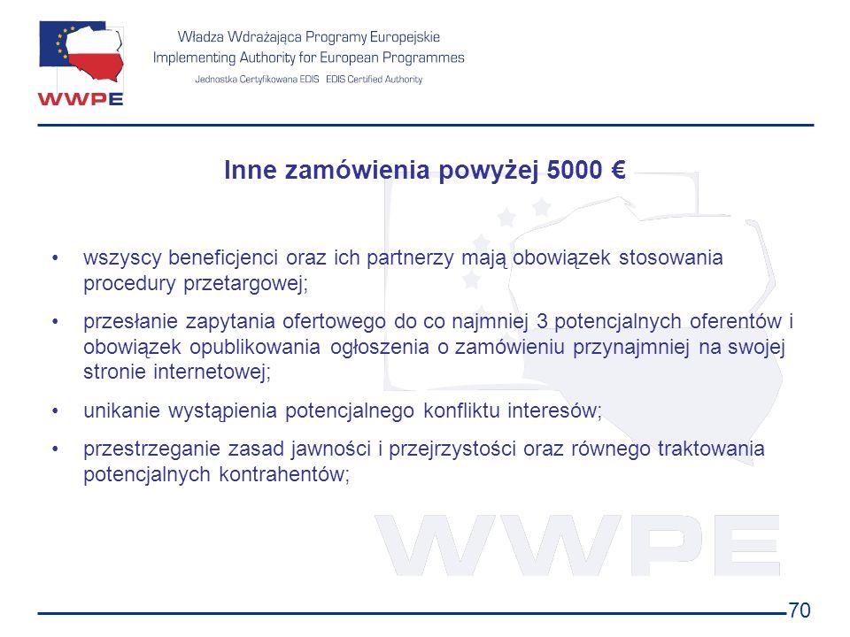 70 Inne zamówienia powyżej 5000 wszyscy beneficjenci oraz ich partnerzy mają obowiązek stosowania procedury przetargowej; przesłanie zapytania ofertow