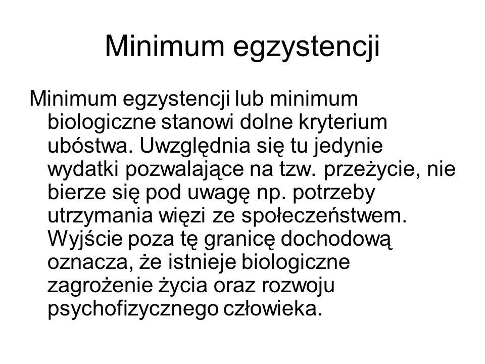 Minimum egzystencji Minimum egzystencji lub minimum biologiczne stanowi dolne kryterium ubóstwa. Uwzględnia się tu jedynie wydatki pozwalające na tzw.