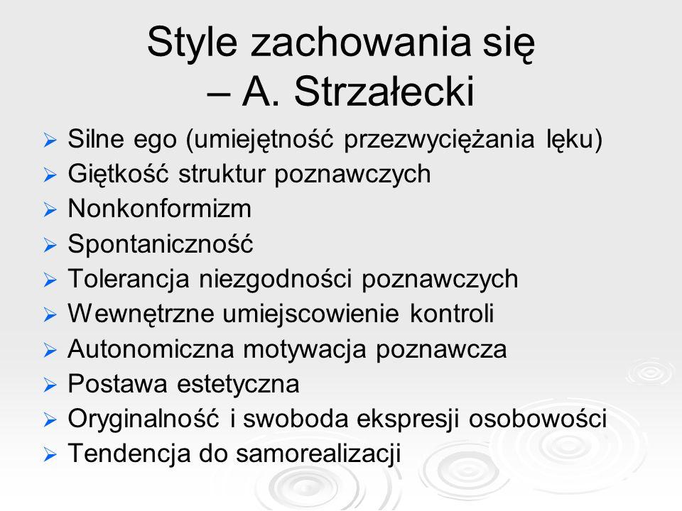 Style zachowania się – A. Strzałecki Silne ego (umiejętność przezwyciężania lęku) Giętkość struktur poznawczych Nonkonformizm Spontaniczność Tolerancj