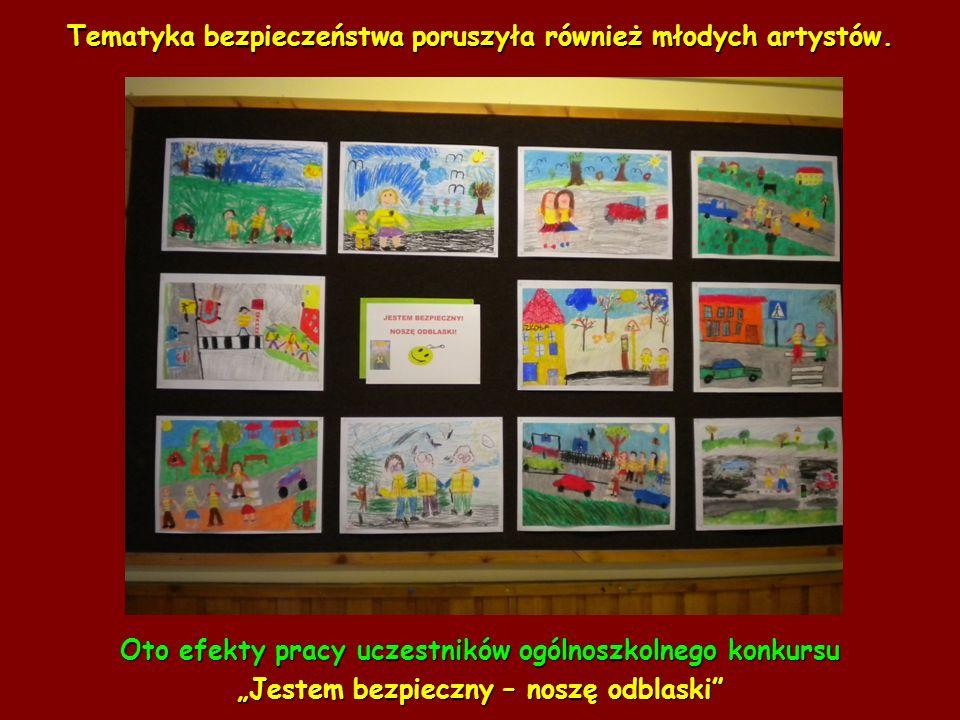 Tematyka bezpieczeństwa poruszyła również młodych artystów. Oto efekty pracy uczestników ogólnoszkolnego konkursu Jestem bezpieczny – noszę odblaski