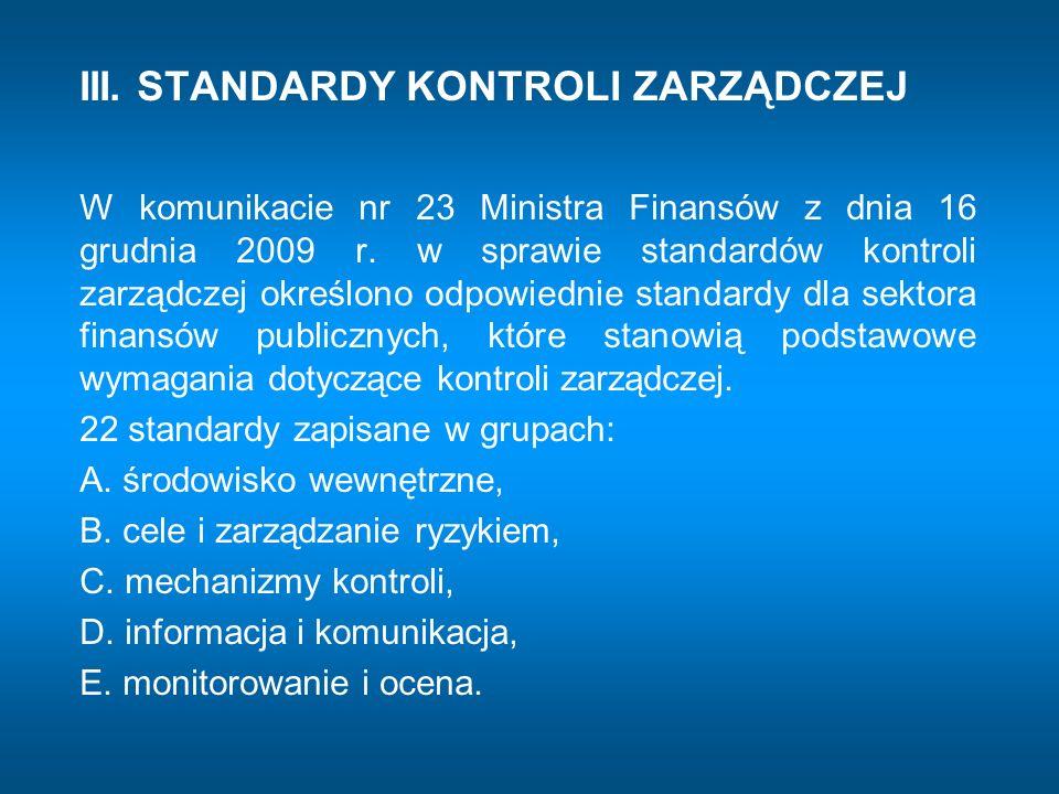 III. STANDARDY KONTROLI ZARZĄDCZEJ W komunikacie nr 23 Ministra Finansów z dnia 16 grudnia 2009 r. w sprawie standardów kontroli zarządczej określono