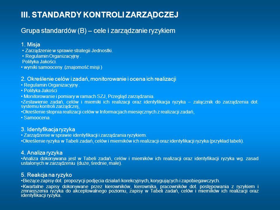 III. STANDARDY KONTROLI ZARZĄDCZEJ Grupa standardów (B) – cele i zarządzanie ryzykiem 1. Misja Zarządzenie w sprawie strategii Jednostki. Regulamin Or