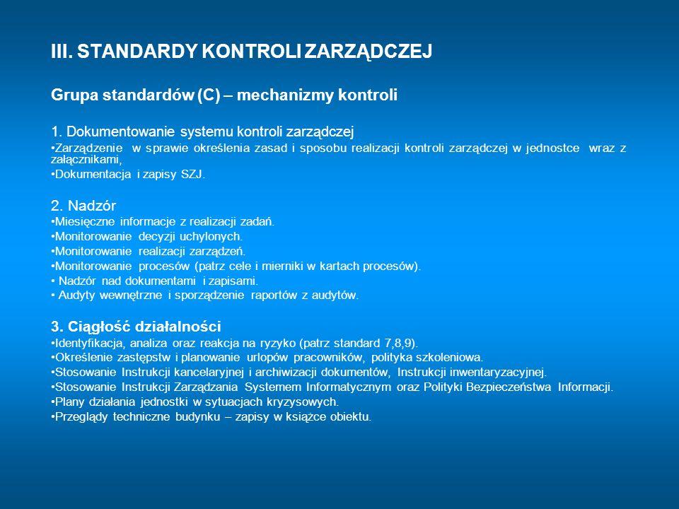 III. STANDARDY KONTROLI ZARZĄDCZEJ Grupa standardów (C) – mechanizmy kontroli 1. Dokumentowanie systemu kontroli zarządczej Zarządzenie w sprawie okre