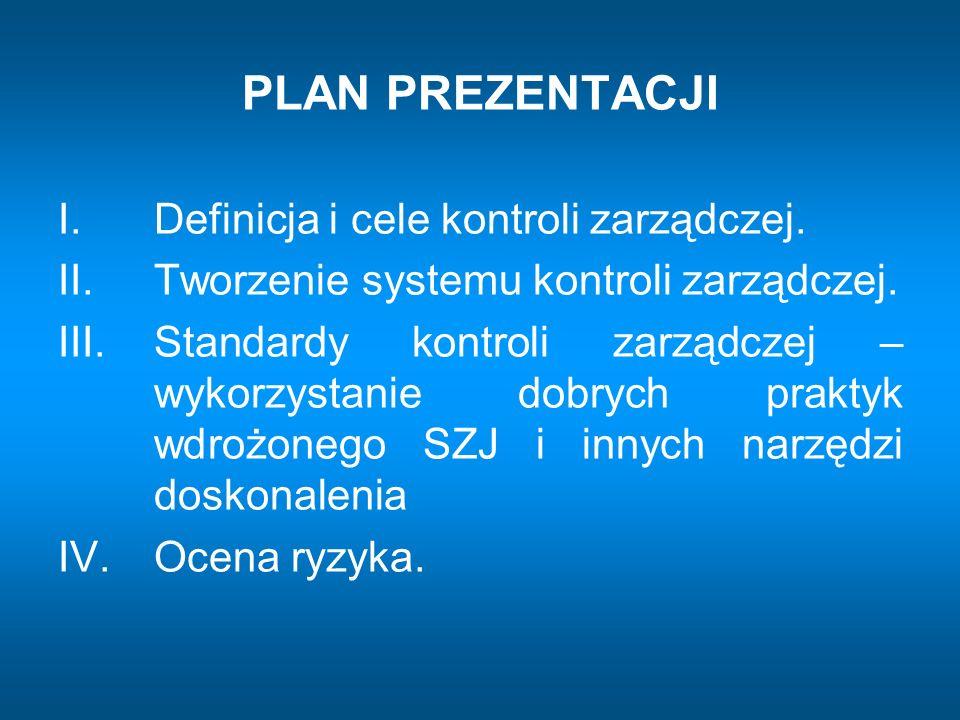 PLAN PREZENTACJI I. Definicja i cele kontroli zarządczej. II. Tworzenie systemu kontroli zarządczej. III. Standardy kontroli zarządczej – wykorzystani