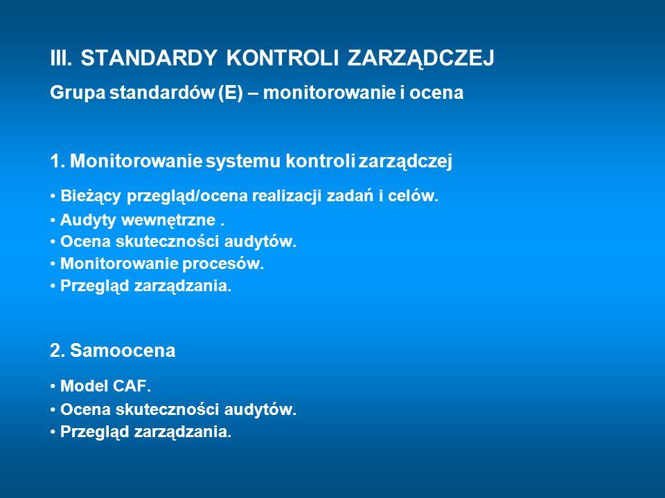 III. STANDARDY KONTROLI ZARZĄDCZEJ Grupa standardów (E) – monitorowanie i ocena 1. Monitorowanie systemu kontroli zarządczej Bieżący przegląd/ocena re