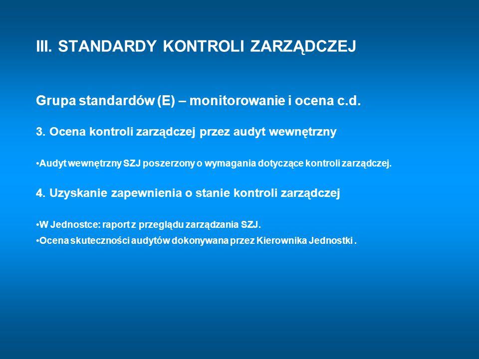 III. STANDARDY KONTROLI ZARZĄDCZEJ Grupa standardów (E) – monitorowanie i ocena c.d. 3. Ocena kontroli zarządczej przez audyt wewnętrzny Audyt wewnętr