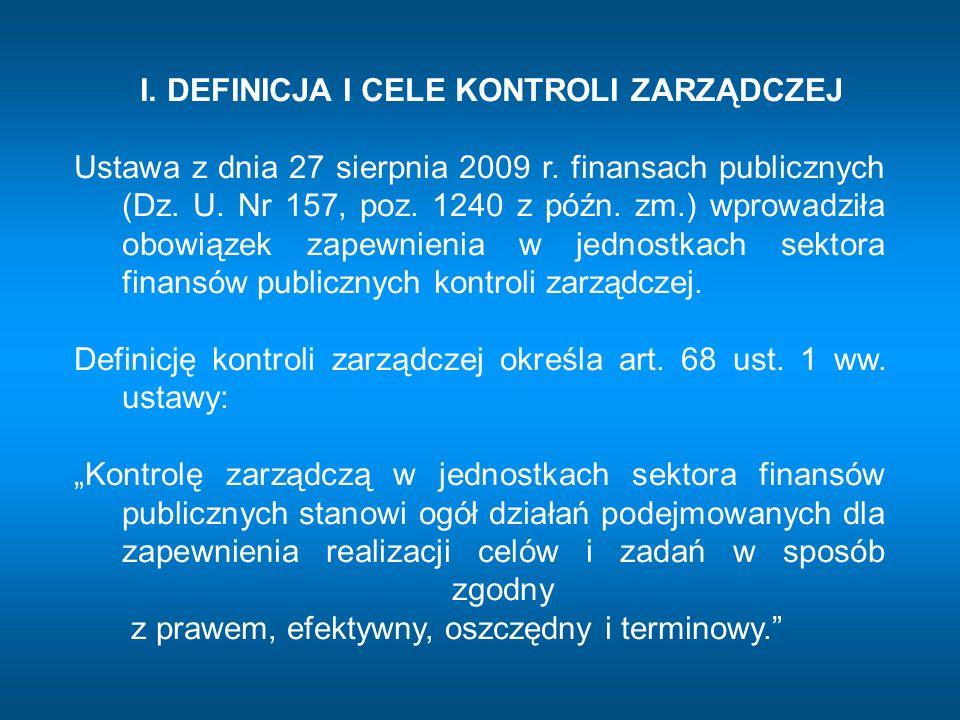 obejmuje wszystkie działania podejmowane dla wyznaczania i realizacji celów oznacza ogół działań podejmowanych dla zapewnienia realizacji celów i zadań w sposób zgodny z prawem, efektywny, oszczędny i terminowy dotyczy procesów związanych z gromadzeniem i rozdysponowaniem środków publicznych oraz gospodarowaniem mieniem Zarządzanie Kontrola zarządcza Kontrola finansowa Zarządzanie, kontrola zarządcza, kontrola finansowa