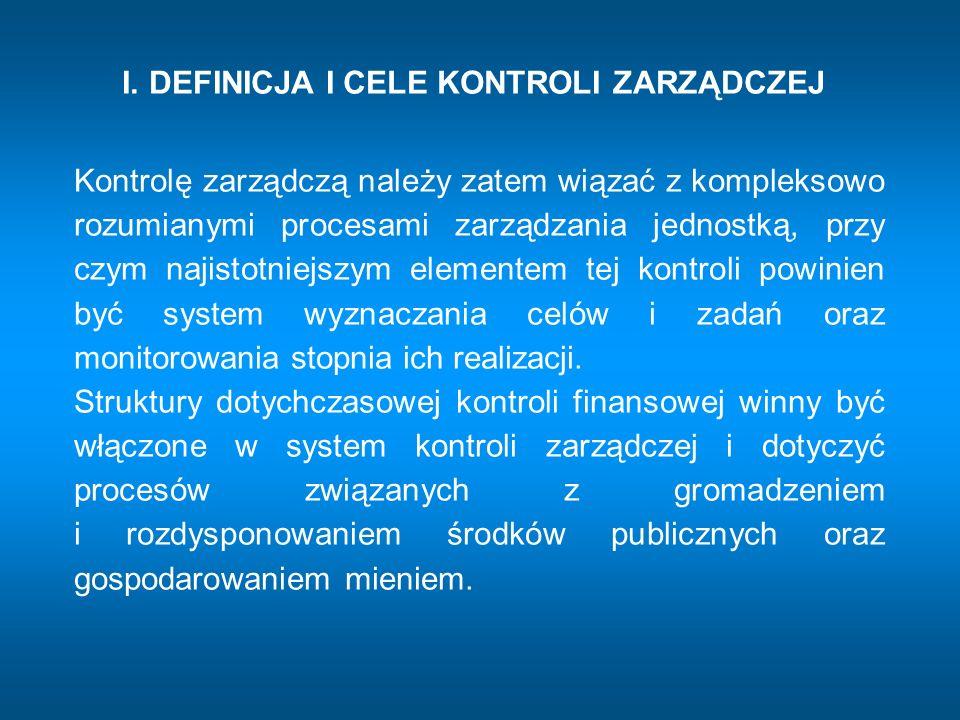 I.DEFINICJA I CELE KONTROLI ZARZĄDCZEJ Cele kontroli Zarządczej określa art.