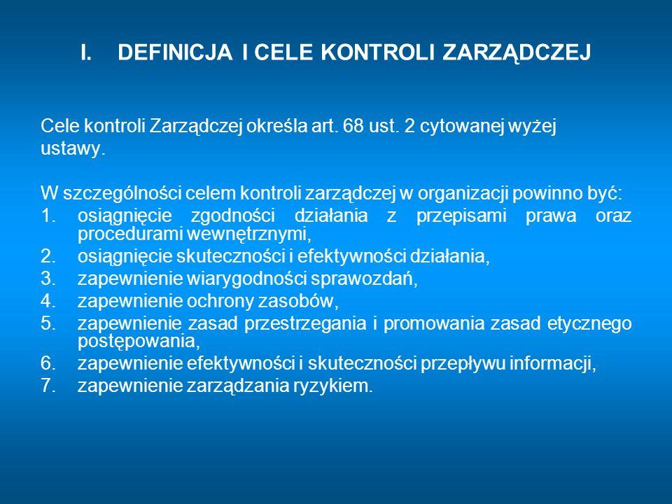 III.STANDARDY KONTROLI ZARZĄDCZEJ Grupa standardów (C) – mechanizmy kontroli 1.