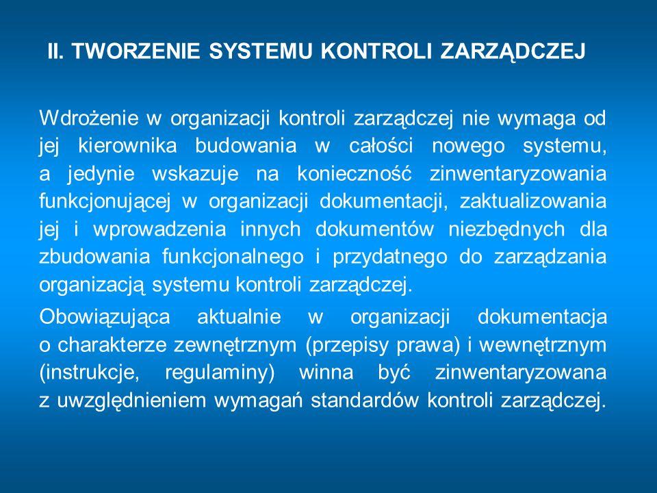 II. TWORZENIE SYSTEMU KONTROLI ZARZĄDCZEJ Wdrożenie w organizacji kontroli zarządczej nie wymaga od jej kierownika budowania w całości nowego systemu,