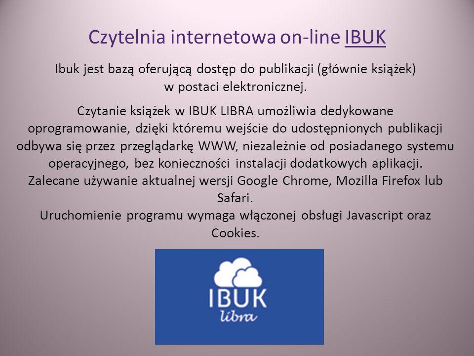 Czytelnia internetowa on-line IBUK Ibuk jest bazą oferującą dostęp do publikacji (głównie książek) w postaci elektronicznej. Czytanie książek w IBUK L