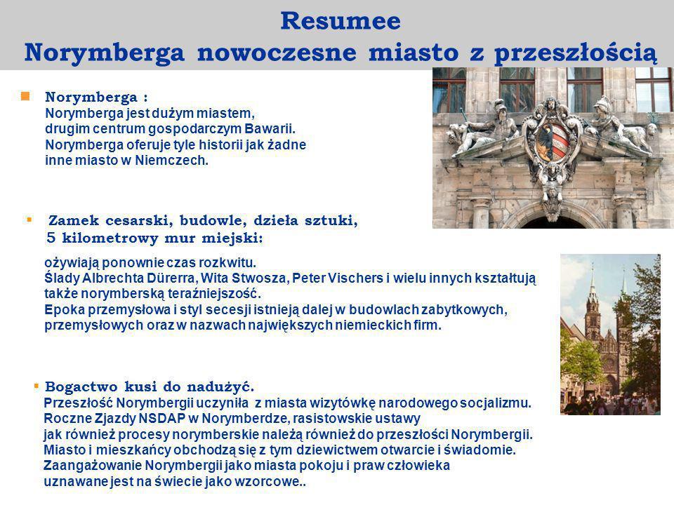 Norymberga : Norymberga jest dużym miastem, drugim centrum gospodarczym Bawarii. Norymberga oferuje tyle historii jak żadne inne miasto w Niemczech. R