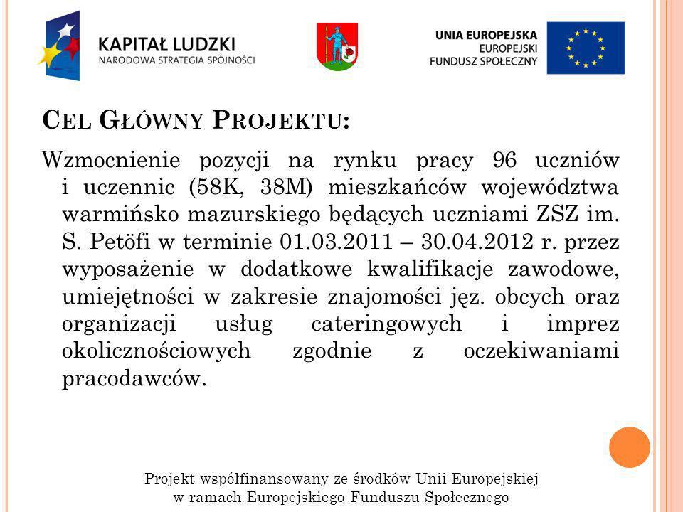 C EL G ŁÓWNY P ROJEKTU : Wzmocnienie pozycji na rynku pracy 96 uczniów i uczennic (58K, 38M) mieszkańców województwa warmińsko mazurskiego będących uc