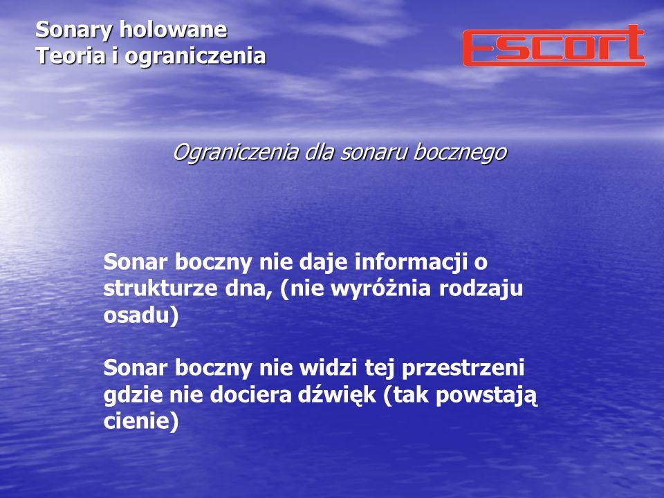 Sonary holowane Teoria i ograniczenia Ograniczenia dla sonaru bocznego Sonar boczny nie daje informacji o strukturze dna, (nie wyróżnia rodzaju osadu)