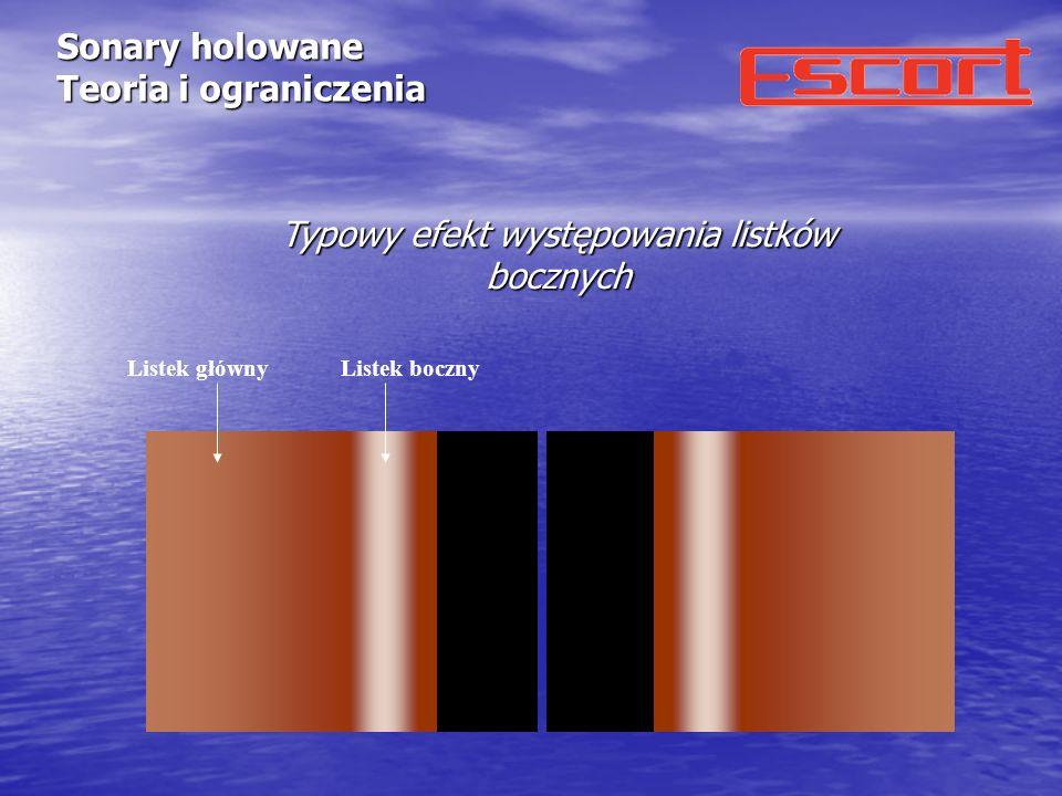 Sonary holowane Teoria i ograniczenia Czynniki wpływające na efektywną siłę odbicia Przy stałej mocy wyjściowej siła odbicia zależy od: - kąta padania ( ) - mały kąt padania = słabe odbicie - duży kąt padania = silne odbicie -zmian gęstości (gęstość dna jest większa od gęstości wody = echo, gęstość powietrza jest mniejsza od gęstości wody = echo) -zmiany ukształtowania dna (dołki i wybrzuszenia powodują zmiany kąta padania wiązki akustycznej) dno