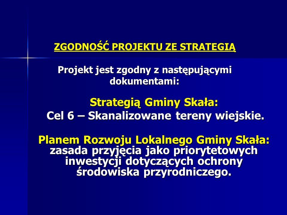 ZGODNOŚĆ PROJEKTU ZE STRATEGIĄ Projekt jest zgodny z następującymi dokumentami: Strategią Gminy Skała: Cel 6 – Skanalizowane tereny wiejskie. Cel 6 –