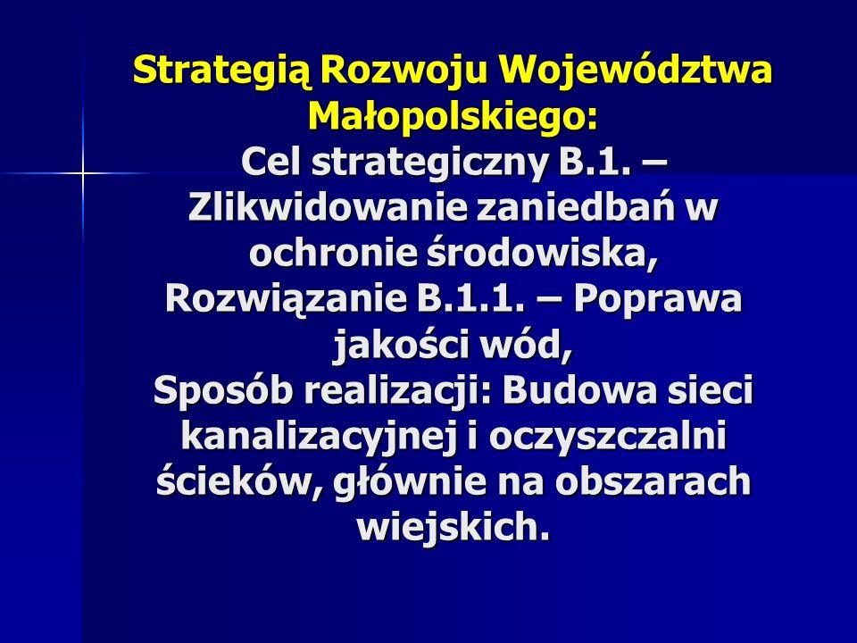 Strategią Rozwoju Województwa Małopolskiego: Cel strategiczny B.1. – Zlikwidowanie zaniedbań w ochronie środowiska, Rozwiązanie B.1.1. – Poprawa jakoś