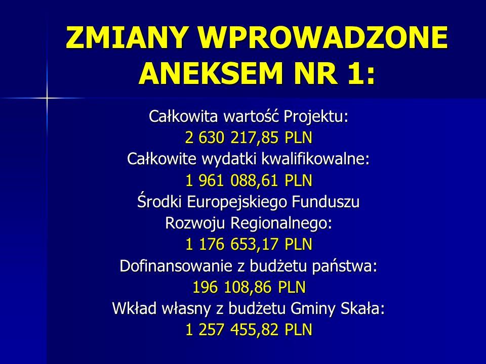 ZMIANY WPROWADZONE ANEKSEM NR 1: Całkowita wartość Projektu: 2 630 217,85 PLN Całkowite wydatki kwalifikowalne: 1 961 088,61 PLN Środki Europejskiego