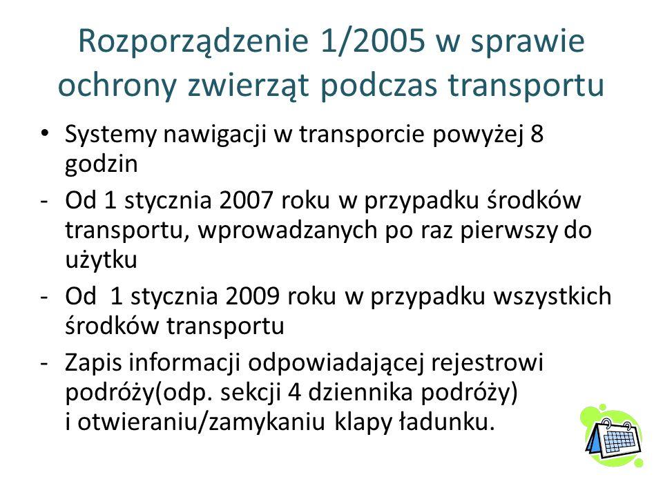Rozporządzenie 1/2005 w sprawie ochrony zwierząt podczas transportu Systemy nawigacji w transporcie powyżej 8 godzin -Od 1 stycznia 2007 roku w przypa