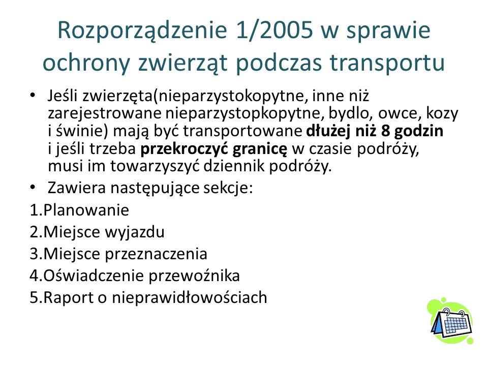 Rozporządzenie 1/2005 w sprawie ochrony zwierząt podczas transportu Jeśli zwierzęta(nieparzystokopytne, inne niż zarejestrowane nieparzystopkopytne, b