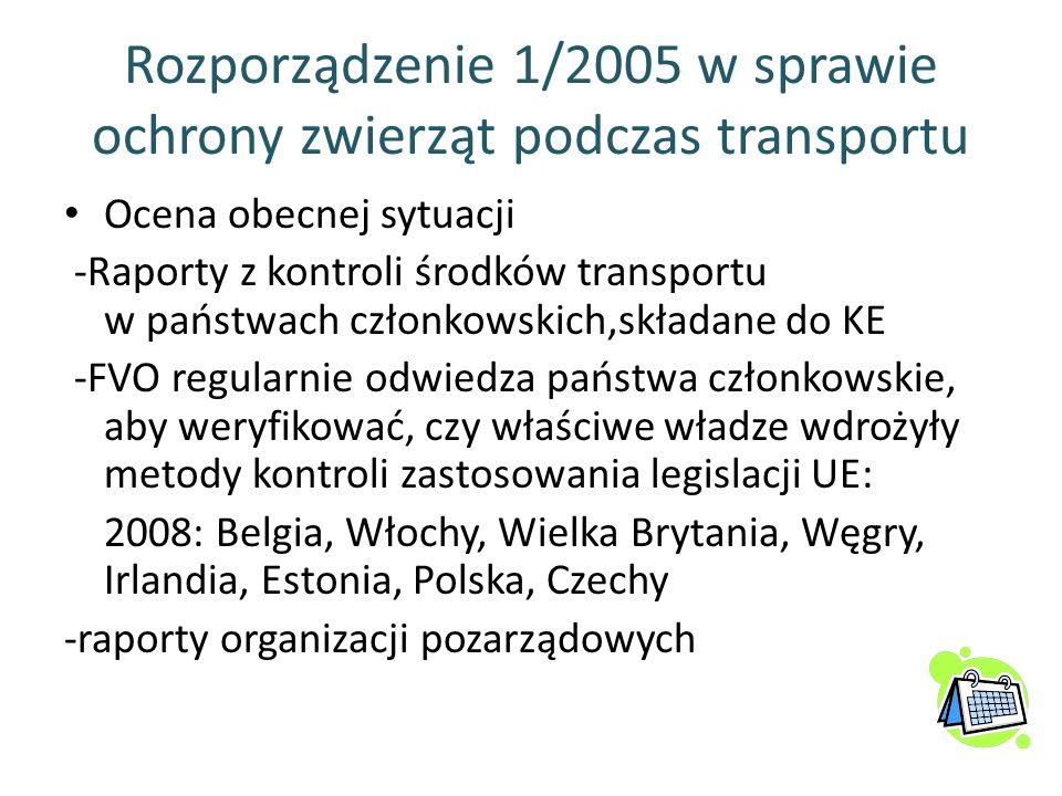 Rozporządzenie 1/2005 w sprawie ochrony zwierząt podczas transportu Ocena obecnej sytuacji -Raporty z kontroli środków transportu w państwach członkow