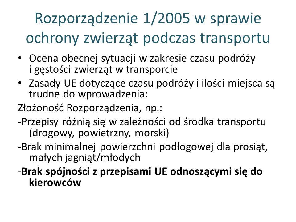 Rozporządzenie 1/2005 w sprawie ochrony zwierząt podczas transportu Ocena obecnej sytuacji w zakresie czasu podróży i gęstości zwierząt w transporcie