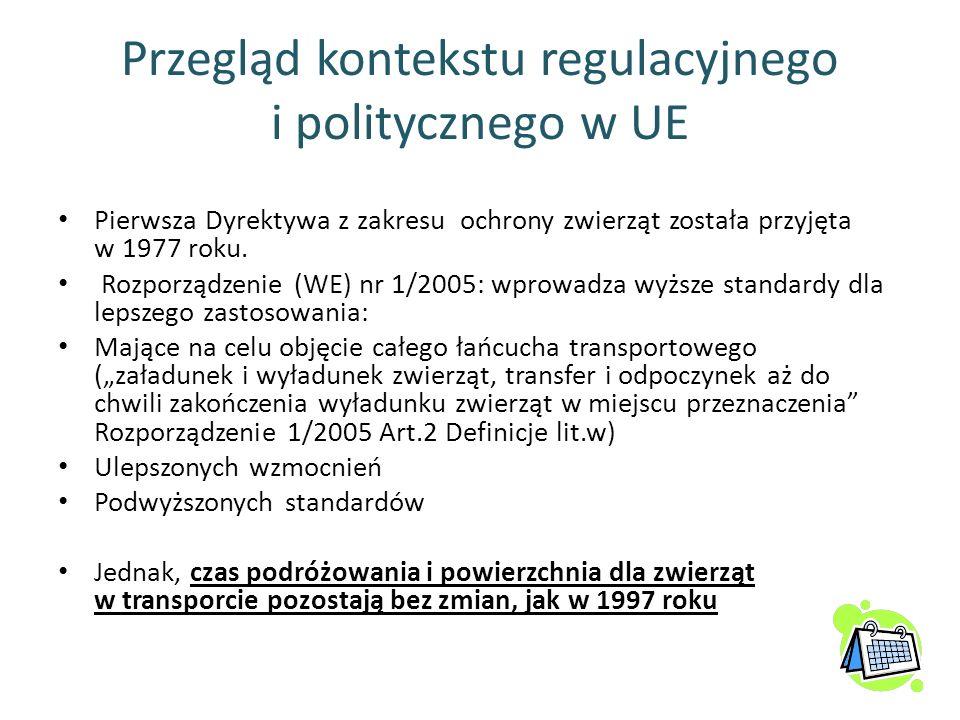 Przegląd kontekstu regulacyjnego i politycznego w UE Pierwsza Dyrektywa z zakresu ochrony zwierząt została przyjęta w 1977 roku. Rozporządzenie (WE) n