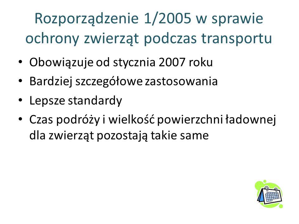 Rozporządzenie 1/2005 w sprawie ochrony zwierząt podczas transportu Obowiązuje od stycznia 2007 roku Bardziej szczegółowe zastosowania Lepsze standard