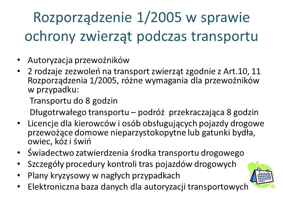 Rozporządzenie 1/2005 w sprawie ochrony zwierząt podczas transportu Autoryzacja przewoźników 2 rodzaje zezwoleń na transport zwierząt zgodnie z Art.10