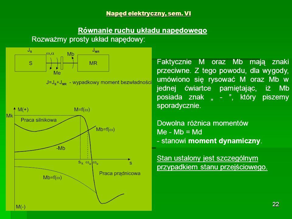 22 Napęd elektryczny, sem. VI Równanie ruchu układu napędowego Rozważmy prosty układ napędowy: Faktycznie M oraz Mb mają znaki przeciwne. Z tego powod