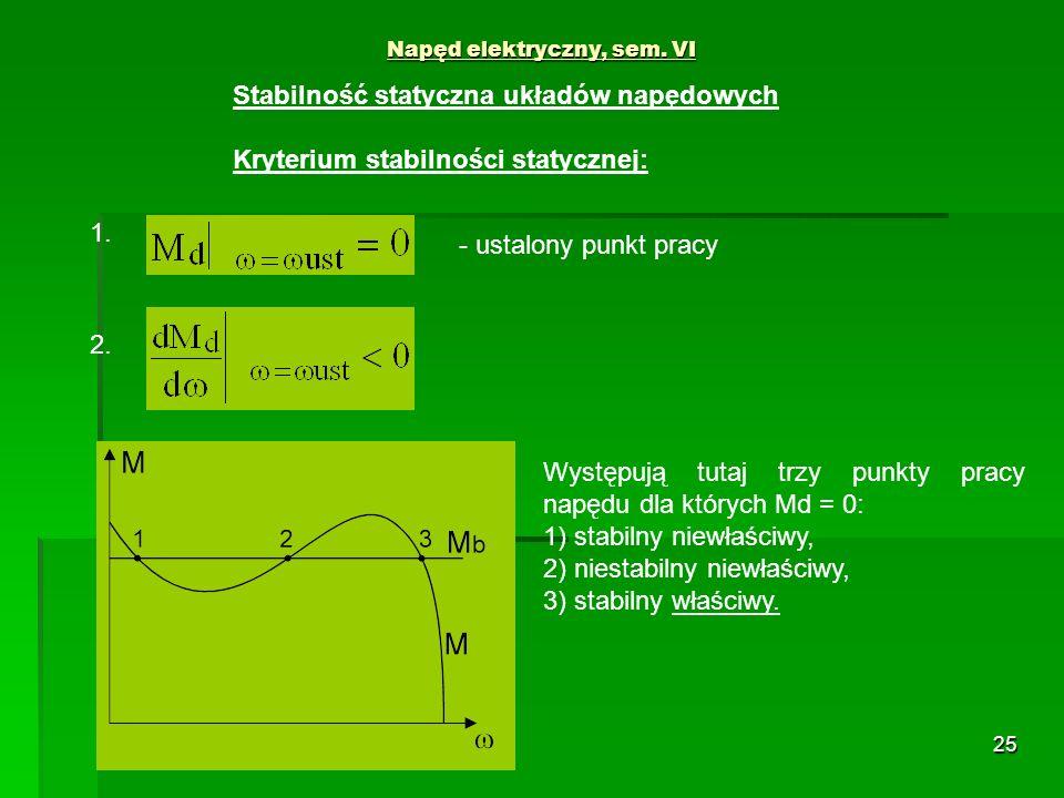 25 Napęd elektryczny, sem. VI Stabilność statyczna układów napędowych Kryterium stabilności statycznej: 1. 2. - ustalony punkt pracy Występują tutaj t